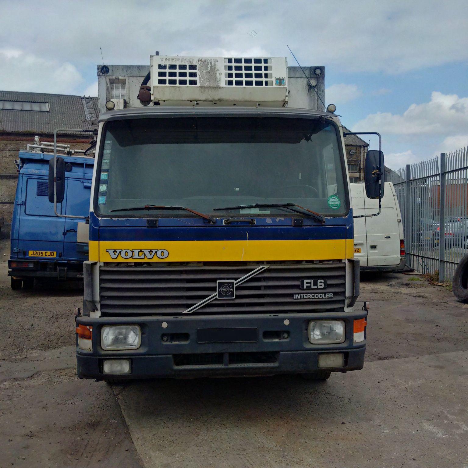 Left hand drive Volvo FL6 14 Ton refrigerator box lorry. On springs suspension