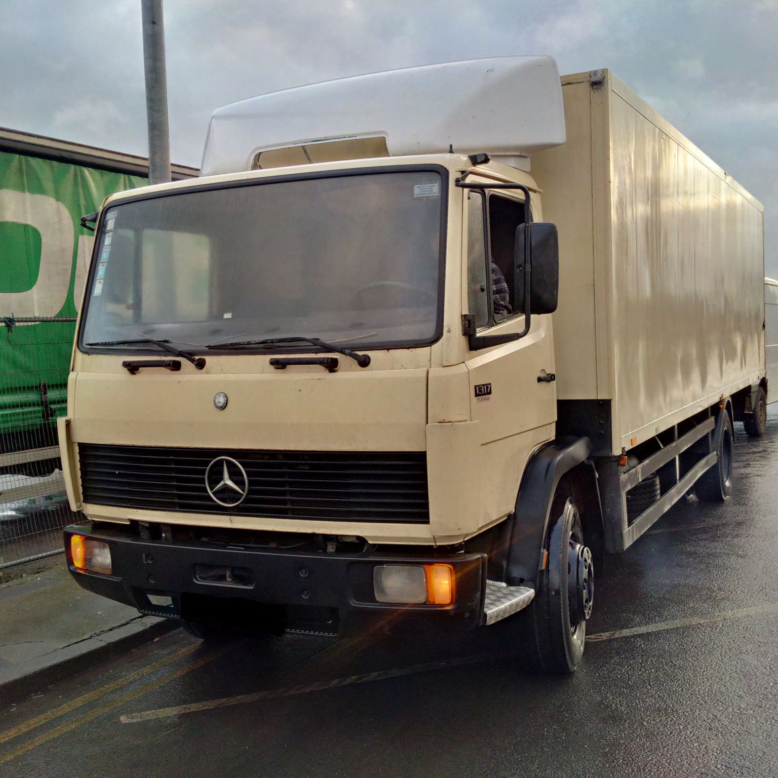 Left hand drive Mercedes Benz 1317 box lorry. 6 cylinder engine.