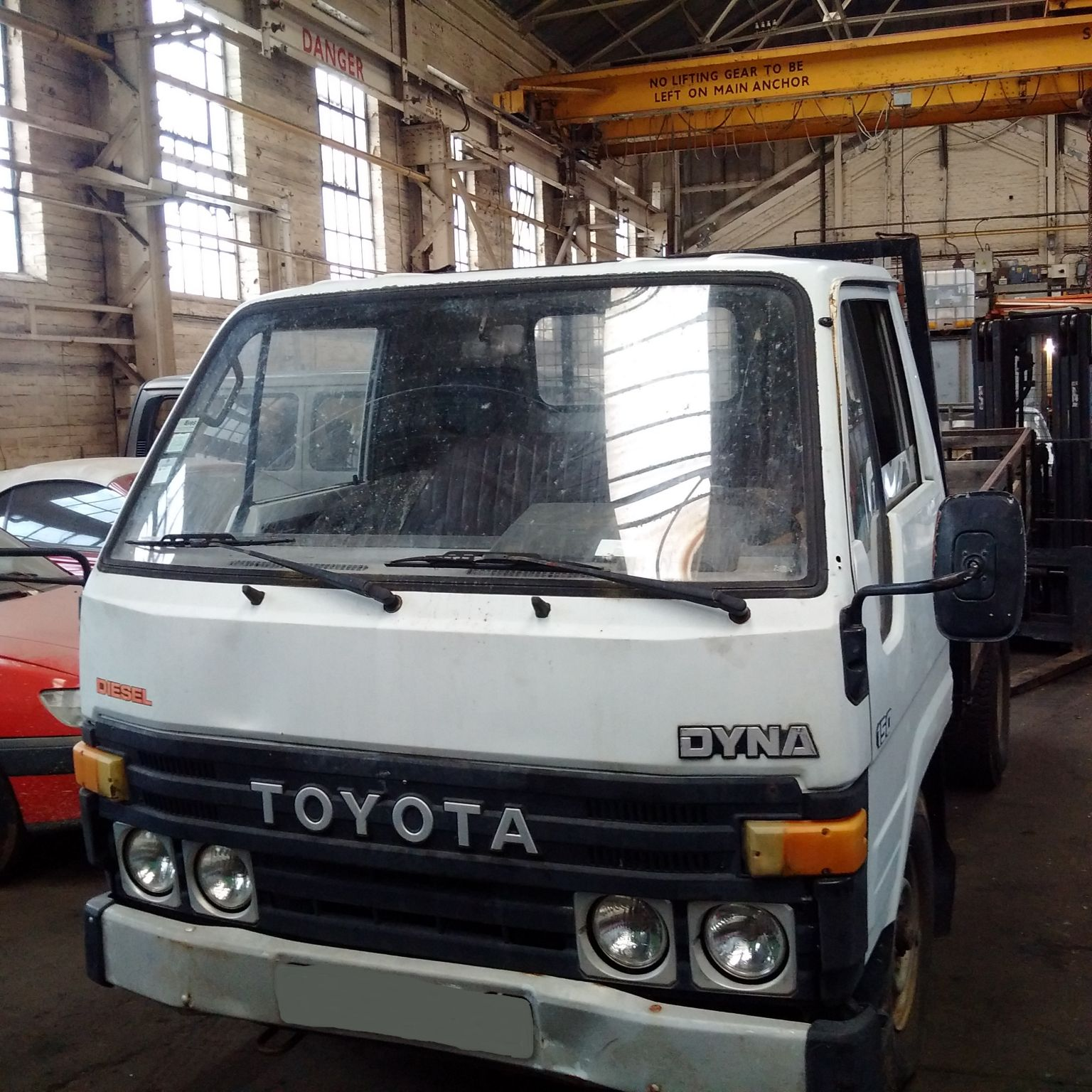 Left hand drive Toyota Dyna 150 LY60 single wheel pick up truck.