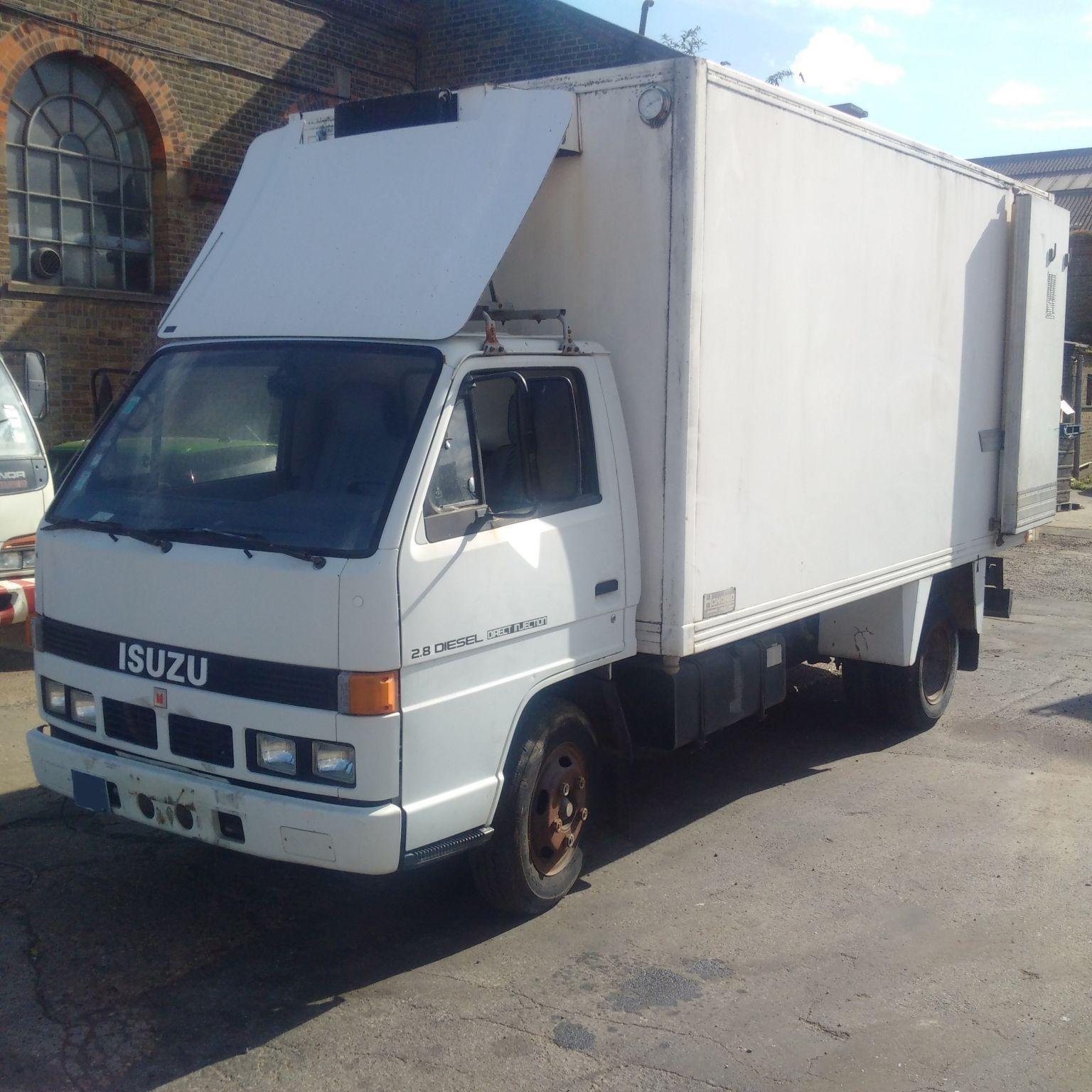 Left hand drive Isuzu NKR 2.8 diesel 3.5 Ton freezer box lorry.