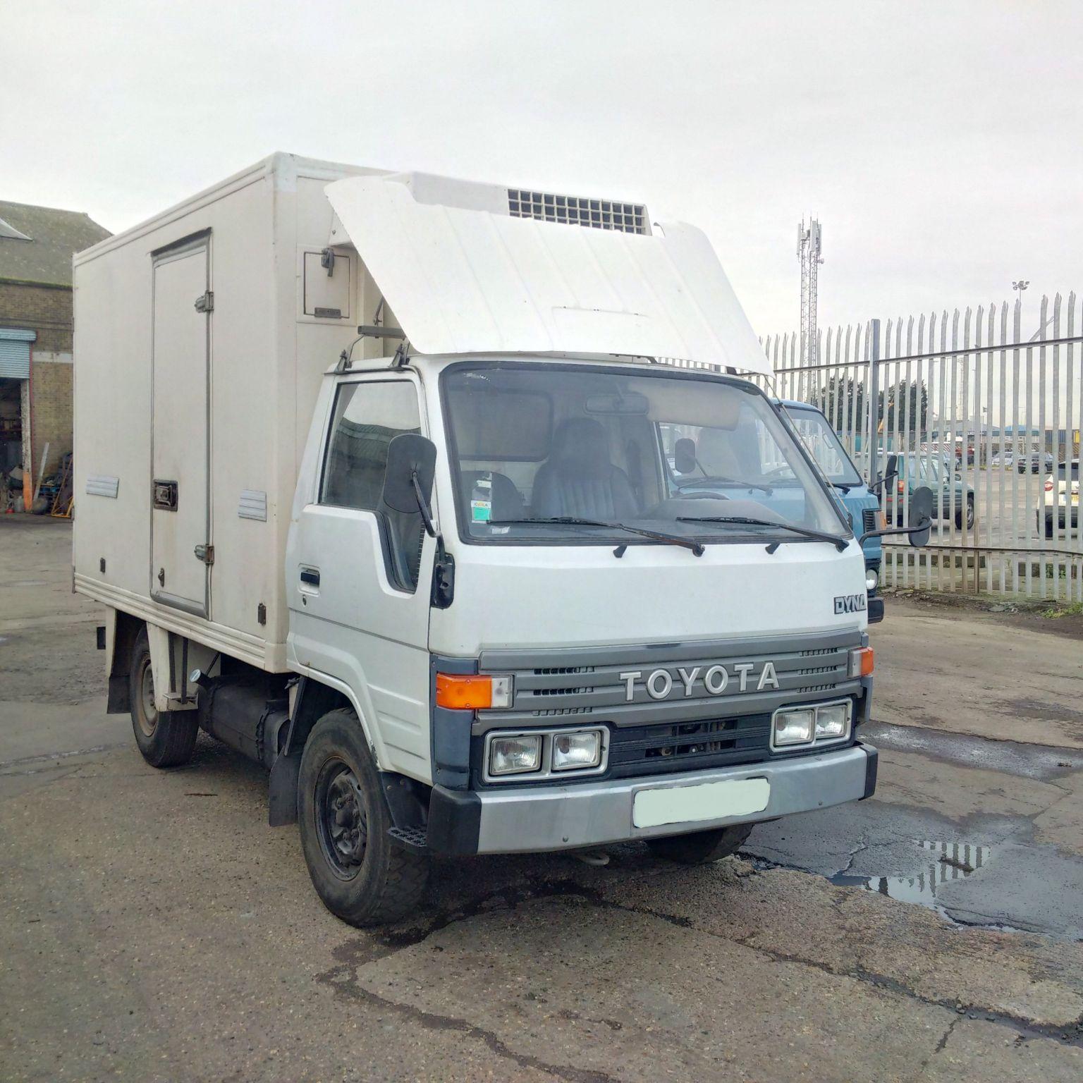 Left hand drive Toyota Dyna 150 2.8 Diesel 3.5 Ton fridge freezer box lorry.