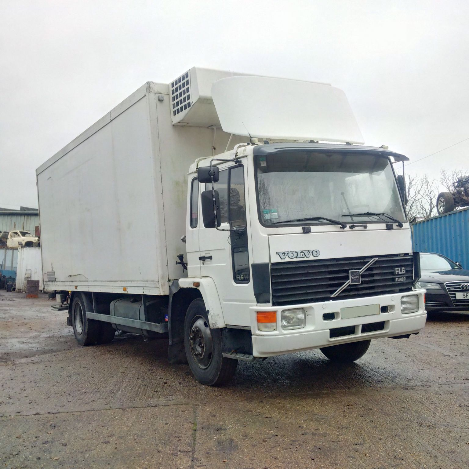 Left hand drive Volvo FL614 Turbo 14 Ton fridge freezer box lorry with tail lift.