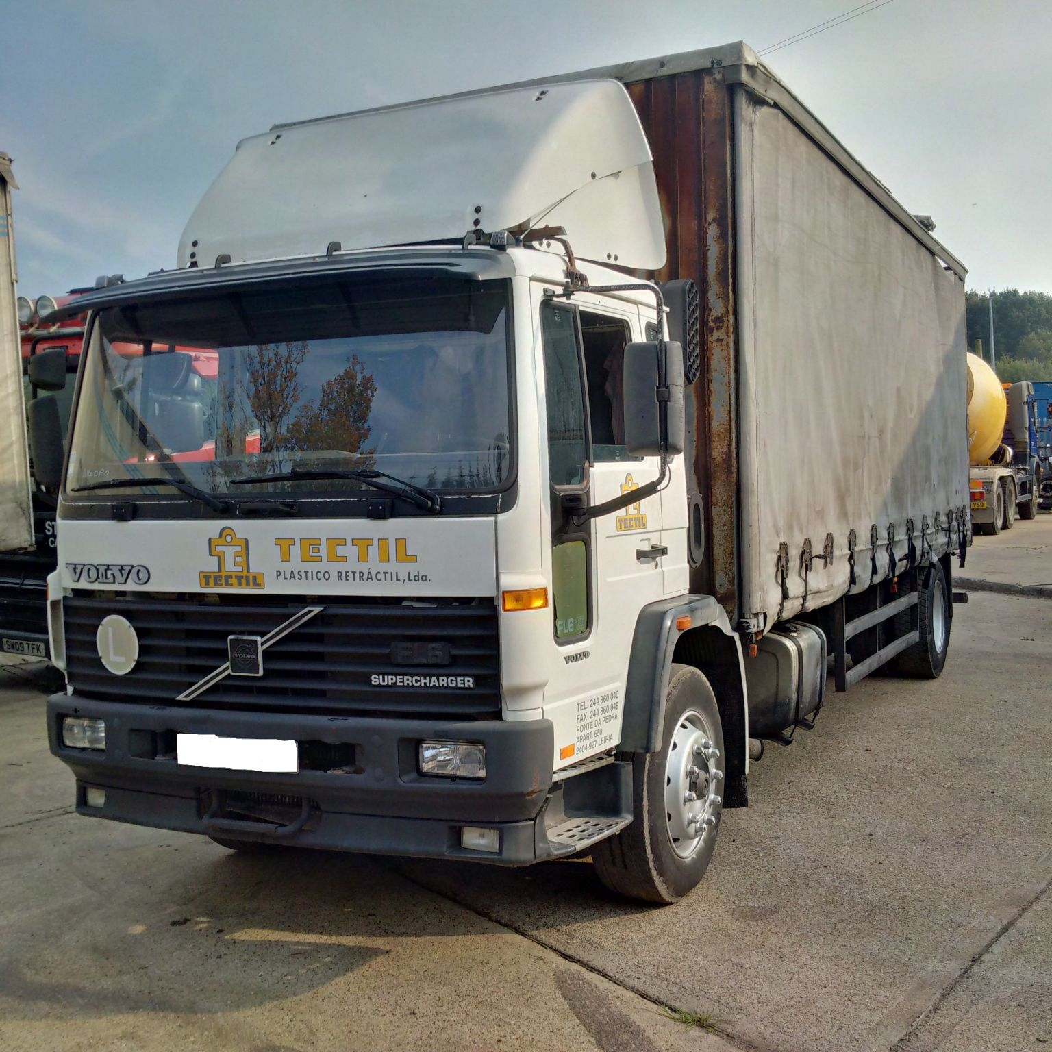 Left hand drive Volvo FL6 19 Supercharger curtainsider.