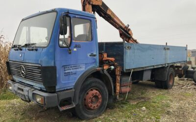 Left hand drive Mercedes Benz, flatbed crane lorry