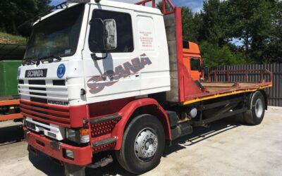 Left hand drive Scania 112 flatbed lorry